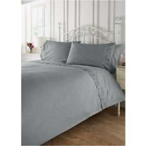 Vintage Style Bed Linen Set - Light Gray